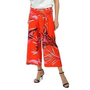 Printed Lightweight Crepe Cropped Pant with Sash